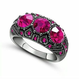 Jewelry - New 18K Black Gold Filled Red Ruby Ring. Size 7.75
